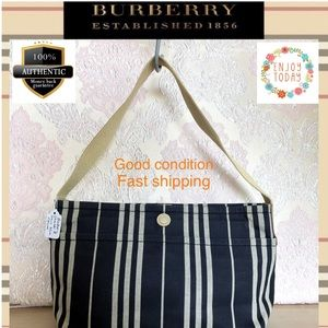 🌻💯 Burberry satchel bag canvases leather blue